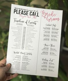 wedding checklist Editable Wedding Timeline - Call Anyone but the Bride and Groom! - Edit in Word - Phone numbers and timeline - Day of Wedding Schedule Wedding Day Checklist, Wedding Schedule, Budget Wedding, Wedding Tips, Trendy Wedding, Perfect Wedding, Wedding Reception, Our Wedding, Dream Wedding