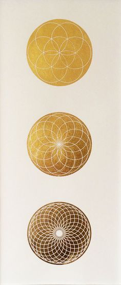 Seed of Life Spirograph series Gold Leaf by MerkavahMarket