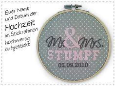 Hochzeitsdaten im Stickrahmen von made by stickdings auf DaWanda.com
