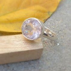 Rose Quartz Sterling Silver Gemstone Ring  by FineSilverStudio