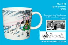 Mug – Spring winter Produced: 2017 Illustrated by Tove Slotte and manufactured in Thailand by Arabia. The original artwork can. Moomin Mugs, Tove Jansson, Original Artwork, History, The Originals, Spring, Tableware, Winter, Illustration