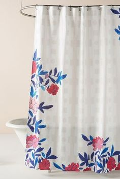 """west elm Butterfly shower curtain cotton  74/""""  x 72/""""  grey white"""