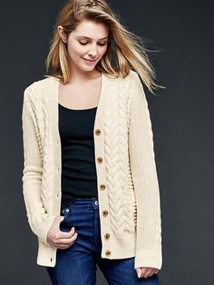 Honeycomb cable-knit cardigan