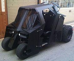 -Golf cart in Batman design. Golf cart in Batman design. Custom Golf Carts, Custom Trucks, Custom Cars, Batmobile, Play Golf, Gotham City, Dark Knight, Memes, Tumblers