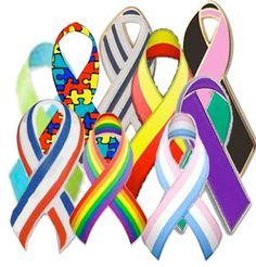 Color Meanings for Striped and Multi Color Awareness Ribbons