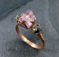 Raw Pink Tourmaline Diamond 14k Rose Gold Engagement Ring by byAngeline