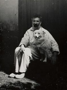Constantin Brancusi with Polaire, in front of his studio (self-portrait, 1924)