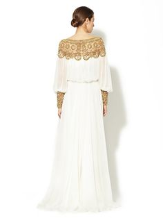 Silk Jeweled Boatneck Full Gown by Marchesa Couture at Gilt