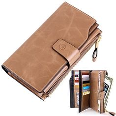 Womens Lady's Large Luxury Wallets, Lecxci Genuine Cowhide Leather Zipper Multi Card / Cash / Coin Change Clutch Wallet Purse with Cell Phone Holder for Women (Apricot) *** Check out @