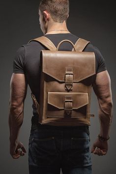 Leather backpack Man backpack Leather rucksack by HollaCompany Colorful Backpacks, Brown Backpacks, Leather Backpacks, Thick Leather, Leather Men, Rucksack Backpack, Messenger Bag, Travel Backpack, Cuir Vintage