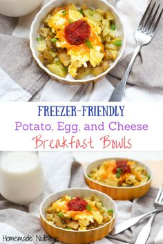 Freezer-Friendly Potato and Egg Breakfast Bowls - Homemade Nutrition - Nutrition that fits your life Potato And Egg Breakfast, Breakfast Bowls, Breakfast Recipes, Zucchini Smoothie, Healthy Potatoes, Homemade Breakfast, Freezer Meals, Freezer Cooking, Potato Dishes