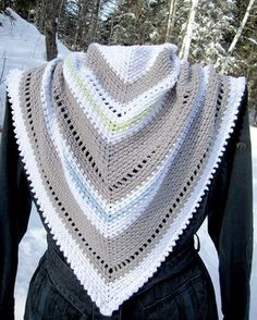 Snow Day Tri-Scarf Crescent Shawl, Fashion Accessories, Snow, Cowls, Crochet, Scarves, Wraps, Scarfs, Crochet Crop Top