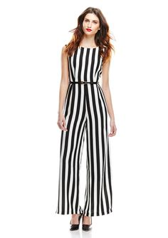 GRACIA Black/White Striped Jumpsuit