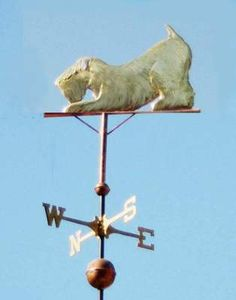 "Wheaten Terrier Dog, Play Bow by West Coast Weather Vanes. All our dog weathervanes can be made with an optional collar. We can actually inscribe your dog's name on the collar in either 1/4"" or 1/8"" tall stamped letters or we can add a tag in the shape of a dog bone, a heart or a circle."