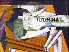Fruit Bowl, Book and Newspaper - Juan Gris