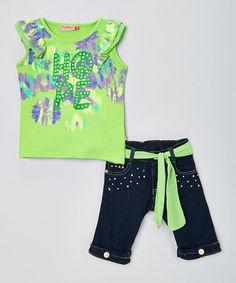 "Trendy Girl green ""Hope"" tee & sash shorts on Zulily."