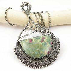 Wire wrapped necklace statement bold jewelry by MadeBySunflower, $340.00