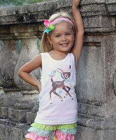 Look at this White Retro Fawn Tank - Infant, Toddler & Girls on #zulily today!