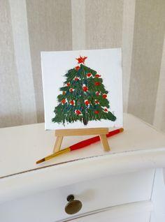 original small painting Christmas tree as a by ArtKarinaStudio