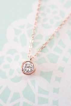 Simple Diamond Drop necklace rose gold filled b