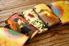Asian Art Geisha and Fox Link Charm Bracelet