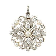 Antique Platinum, Gold, Diamond and Button Pearl Pendant-Brooch, Tiffany & Co., Circa 1905.