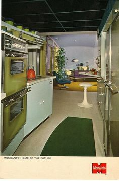 The Monsanto House of the Future attraction from the at Disneyland, California, now depicts an elegant retro, vintage-styled world Mid-century Interior, Vintage Interior Design, Vintage Interiors, Interior Decorating, Mid Century Decor, Mid Century House, Retro Home Decor, Vintage Decor, 1970s Decor