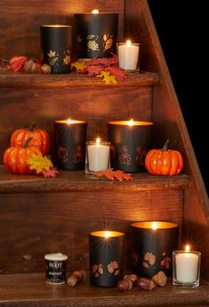 Noir Collection by Root Candles Limited Edition Leaf Best Candles, Candle Jars, Harvest, Pumpkin, Halloween, Collection, Pumpkins, Candle Mason Jars, Squash
