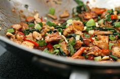 shiitake stir fry: cornstarch, tamari, sesame oil, sriracha, fresh ginger, fresh shiitake mushrooms, bok choy, red pepper, baked tofu, green onion, cashews