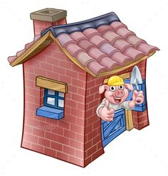 Buy Three Little Pigs Fairy Tale Brick House by Krisdog on GraphicRiver. A cartoon illustration from the three little pigs childrens fairy tale, pig character with his brick house. Three Little Pigs Houses, Cartoon Wolf, Pig Character, Paper Puppets, Ladybird Books, House Illustration, Design Poster, Stock Foto, Stories For Kids