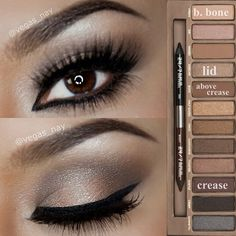 UD Naked Palette Tutorial 1)Prime eye w/ UD primer potion in Eden 2)Pat SIDECAR all over lid 3)Sweep HUSTLE throughout crease 4)Highlight VIRGIN to brow bone 5)Blend BUCK above crease for added warmth 6)Apply Stila tiger eye (brown) liner to water line 7)Apply NYX curve liner on lid, inner eye, then apply more layers for depth and darkness. 8)Apply Lancôme Hypnôse Star mascara to natural lashes.