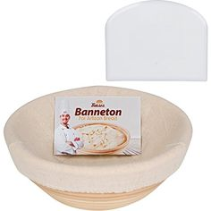 Professional Round Banneton Proofing Basket (9 Inch) for Dough with Cloth Liner and Bowl Scraper box- for Perfect Size Bread Shape and Flour Ring Pattern