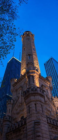 Chicago Water Tower, Illinois with the Hancock Tower to the left.