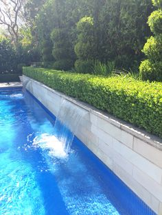 Classic swimming pool with sandstone wall & water features. Japanese Box & Viburnum hedging.