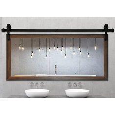 Gracie Oaks Nicholle Bathroom Vanity Mirror Size: H x W x D Vinyl Wall Panels, Wood Panel Walls, Wood Wall, Bathroom Vanity Base, Vanity Set With Mirror, Barn Bathroom, Bathroom Ideas, Bathroom Furniture, Master Bathroom