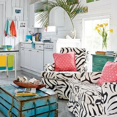 I think ANY black and white pattern (b check, houndstooth, etc.) fits beautifully in coastal decor.  b check is my fave. ;)