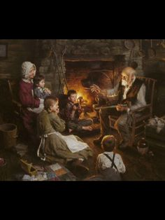 Telling tales of yesteryear.  A families evening entertainment long before the electronic devices that now mesmerize us.  Morgan Weistling