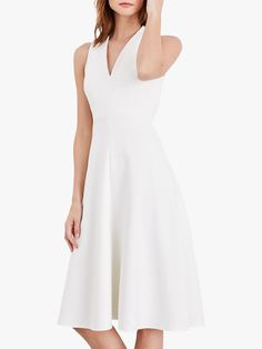 Damsel in a Dress Maralina Flared Dress, Ivory at John Lewis & Partners Waitrose Shopping, Dress Shapes, White Women, Flare Dress, Pleated Skirt, Fit And Flare, White Dress, Formal Dresses, How To Wear
