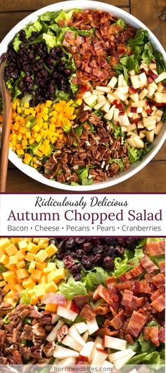 Autumn Chopped Salads, Chopped Salad Recipes, Salad Recipes For Dinner, Dinner Salads, Fall Salad, Thanksgiving Salad, Thanksgiving 2020, Oven Baked Bacon, Salads Up