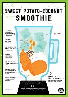 Sweet Potato-Coconut Smoothie // With roasted coconut, grated nutmeg, honey (or maple syrup), hemp or flax seed, plain yogurt, coconut milk and roasted sweet potatoes... A delicious meal for breakfast, lunch or dinner!