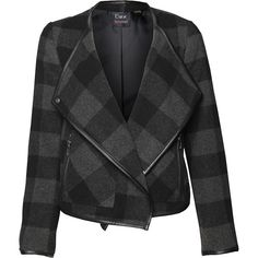 Devoted by Dex Black & Charcoal Plaid Wool-Blend Moto Jacket (€66) ❤ liked on Polyvore featuring outerwear, jackets, buffalo check jacket, plaid jacket, long jacket, wool blend biker jacket and wool-blend jacket