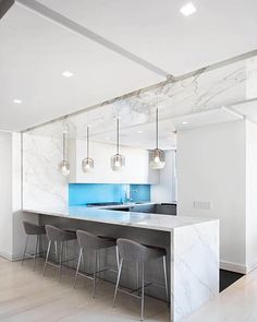 Bluff City (White/Black) — Interior by StudioLAB Design. Lighting designed by Jonah Takagi for Roll & Hill Dining Area, Kitchen Dining, Curved Desk, Wardrobe Wall, Roll Hill, Bluff City, Floating Bookshelves, Led Recessed Lighting, White Oak Floors