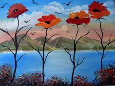 Poppies Red Surreal Scenic Sea Mountains On Canvas Board, Wall Art For Home £35.00