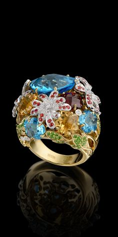 Master Exclusive Jewellery - Collection - Bouquet of love Yellow and White gold,topaz,diamonds,colored sapphires,citrines,garnet,demantoids