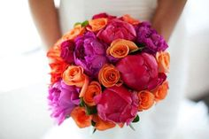 bright wedding bouquet with coral and pink