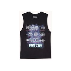 Forever 21 Forever 21 Women's  Star Trek Starfleet Muscle Tee (55 PLN) ❤ liked on Polyvore featuring tops, shirts, star trek, graphic tank tops, oversized shirt, muscle tshirt, oversized tank tops and graphic tank