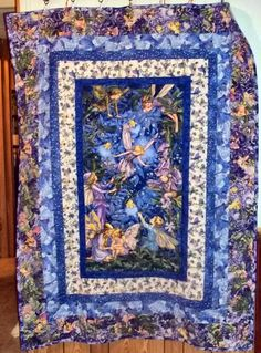 Sale Beautiful Handmade Quilt  Made with Fabric from Fairy frost and Nite fairies for Michael Miller Lap quilt or wallhanging