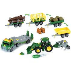 Theo Klein John Deere Mega Take A Part Set - Transporter Tractor and Much More