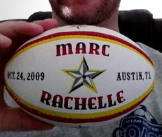 cool custom mini rugby ball by www.redrhinosports.com he made a bunch of these rugby balls for his wedding guests with their date and an armadillo on it! What a great idea