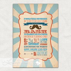 Mustache Bash / Little Man Invitation Printable for Baby Shower / Birthday Parties. $20.00, via Etsy.